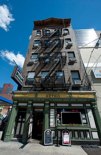 Interior/exterior shots of American Retro bar, Hell's Kitchen, New York City.